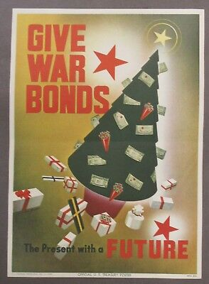 orig 1943 WWII GIVE WAR BONDS - PRESENTS WITH FUTURE home front poster CHRISTMAS