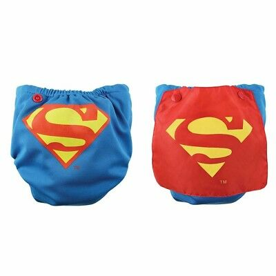 NEW Bumkins Cape Superman Blue Red Cloth Diaper Superhero DC Comics AIO