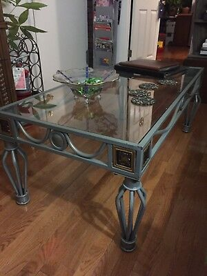 American Gray Painted Iron Coffee Table