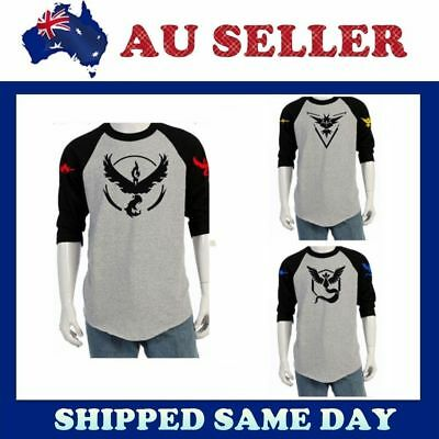 Pokemon Go Team Valor Mystic Instinct Pokeball Long Sleeve T Shirt Top Crew Neck