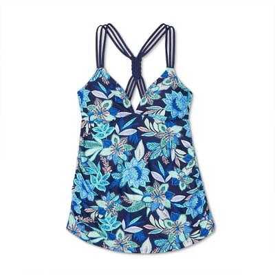 b231edc33cc28 Target Isabel Maternity Multi Strap Braid Back Tankini TOP ONLY Navy Floral  NEW!