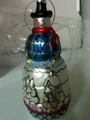 "New Jim Shore 6"" Glass Snowman Ornament"
