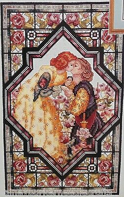 Rare Vtg The Kiss Medieval Lovers Beaded Cross Stitch Kit Roses Stained Glass