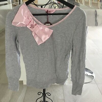 Playboy Size 8 Long Sleeve Pj Top Grey With Pink Ribbon And Logo Brand New With