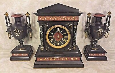 Antique French Clock and Garniture Set Slate and Marble Great Incising Designs