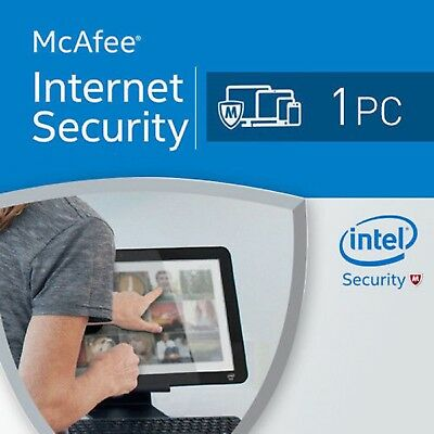 1 Year McAfee Internet Security Anti Virus Software licence 2018 / 1 Device