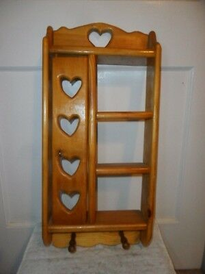"""Vintage Solid Wood Very Tall Hanging Display Shelf - 23"""" Tall - Cut Out Hearts"""
