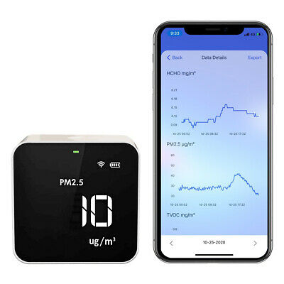 Temtop M10i Air Quality Monitor for PM2.5 HCHO TVOC AQI WiFi App Connect
