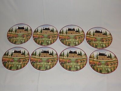 """Set of 8 Country Village Home """"Spring"""" 7 3/4"""" Dessert Plates BLOCK by GEAR 1995"""