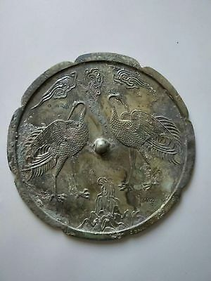 China Ancient Tang Dynasty Bronze Mirror Beautiful Double Crane Statue Pattern