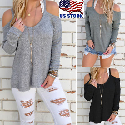 Women Cut Out Off-Shoulder Strapless Tops Long Sleeve Blouse Shirt Loose Sweater