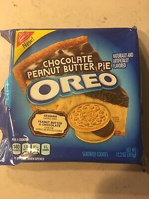 New OREO Chocolate Peanut Butter Pie Graham Flavored Cookies Nabisco 12.2 Oz USA