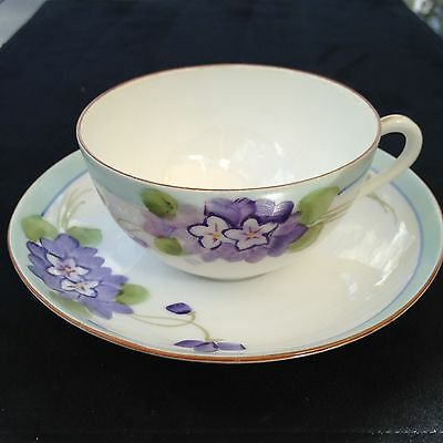 Vintage MEITO CHINA Hand Painted MIJ Violets TEACUP & SAUCER REDUCED SHIPPING