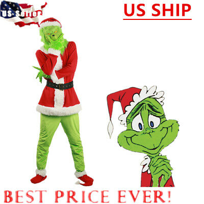 US! Santa Grinch Cosplay Costume How the Grinch Stole Christmas Suit Outfits Set