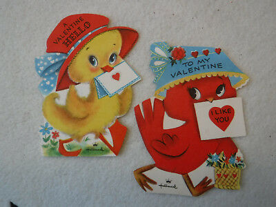 Darling Birds Wearing Bonnets Lot Of 2 Vintage Valentine Greeting Cards Hallmark