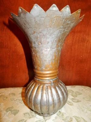 Egyptian Antique Silver Over Copper Hand Hammered Vase, Egyptian Writing, 1930's