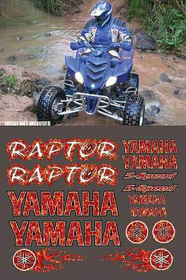 Raptor yamaha RED Plasma Flame Style 16pc Quad Decals Stickers 660R, 350, 700