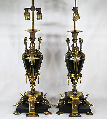 Antique French Empire Etruscans Figural Gilt Bronze Pair of  2 Lights Lamps