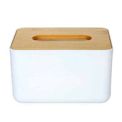 Modern Tissue Box Napkin Paper Case Tissue Holder with Natural Bamboo Cover Z3A4