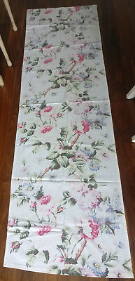 1 Antique 1930s Floral Fabric Panel Runner Pink Roses Blue Lilacs Chintz Vintage
