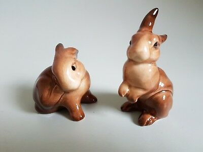 Vintage Beswick Bunny Rabbit Rabbits x 2 Brown 823 and 826
