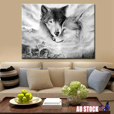 Black&White Wolf Canvas Wall Art Painting Pictures Home Hanging Picture Decor