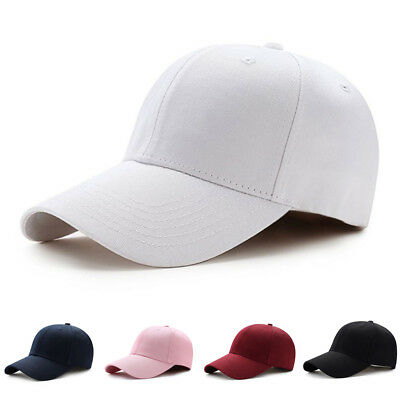 Men Women Adjustable Blank Curved Plain Baseball Caps Pure Color Visor Hat