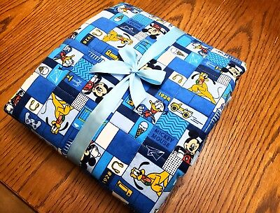 """HANDMADE""""DISNEY'S MICKEY""""35x43in FLANNEL BABY/TODDLER  QUILTED BLANKET-GIFT IDEA"""