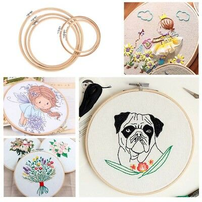 5 Pcs Round Embroidery Hoop Set Bamboo Circle Cross Stitch Hoop Ring AU