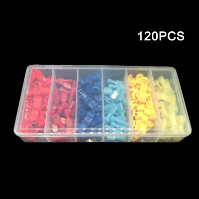 120Pcs T-Tap Insulated Electrical Wire Quick Connectors+Male Crimp Terminal
