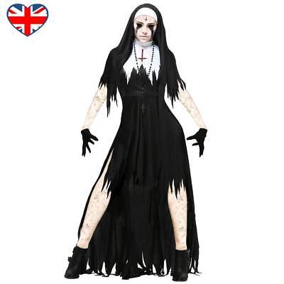 Women Halloween Cosplay Lady Zombie Nun Costume Satanic Sister Fancy Long Dress