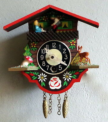 "Vintage Miniature Cuckoo Wall Clock West German Black Forest Design 4.5"" H"