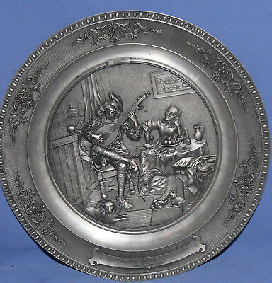 Vintage Ornate Pewter German Wmf Zinn Ges. Gesch Wall Hanging Plate