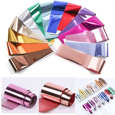 1Roll Metallic Foil Silver Holographic Manicure Nail Art Transfer Stickers Decal