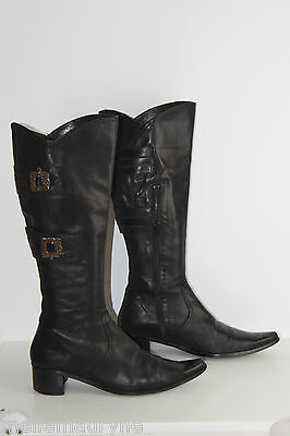 JB MARTIN Boots Pointed Black Leather Lined T 41 VERY GOOD CONDITION