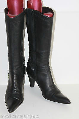 Mid Boots Pointed FACTORY TEST All Leather Black T 39 BE