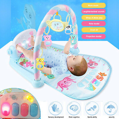 Baby Gym Play Mat Lay + Play 3 in 1 Fitness Music And Lights Fun Piano Boy Girl