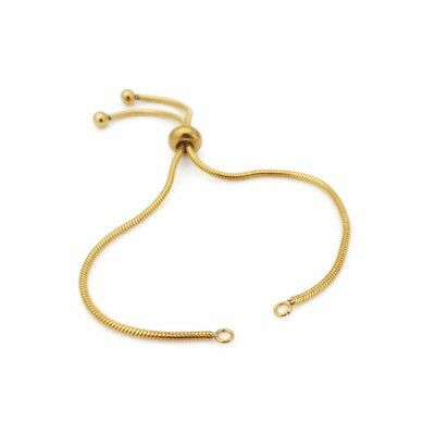 1 x Gold Tone Stainless Steel Adjustable Snake Chain Bracelet Blank with Slider