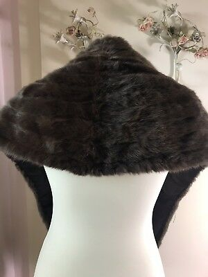 Vintage Mink Chestnut Brown Fur Stole Shawl Bolero Wrap With Pockets Fully Lined