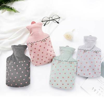 1000ml Girls Heart Winter Hand Warmer Hot Water Bottle Bag With Cover Home Gift