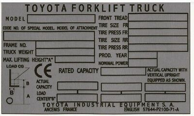 Toyota Forklift Reach Lift Truck Blank Safety Weight Plate All-Blank-Vin-Plates