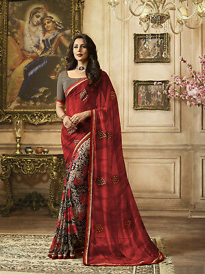 Pink Beige Floral Printed Lace Border Bollywood Sari Georgette Casual Wear Saree