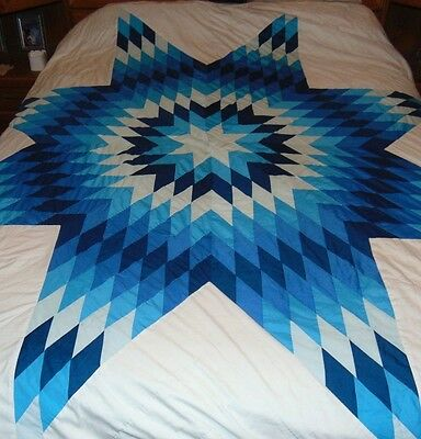 Vintage Quilted Coverlet 73 Inch by 88 Inch Machine Sewn Hand Quilted Blue White