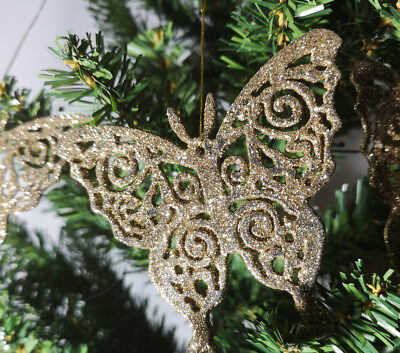 Christmas Tree Decoration,Gold Glitter Butterfly Xmas Hanging Ornament/Bauble