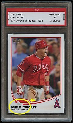 Mike Trout Topps Rookie Of The Year Card 1St Graded 10 La Los Angeles Angels