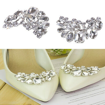 Shiny Bridal Wedding Shoes Clips Crystal Rhinestone Decor  Accessories JH