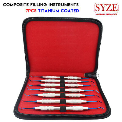 Dental Composite Filling Instruments Restorative Plastic Titanium Coating Set X7