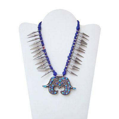 Antique Old Silver Vintage Look Lapis Or Turquoise Tribal Gypsy Necklace
