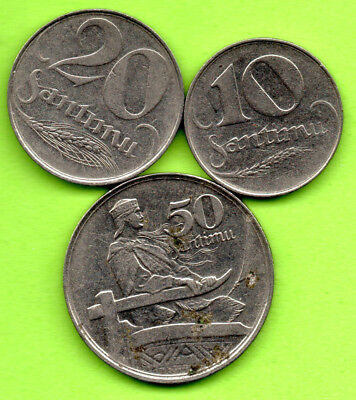 LATVIA LETTLAND LOT OF 3 COINS 1922s 10.20 AND 50 SANTIMU 964