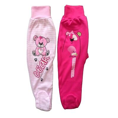 9-12/18-24 Months **Baby Toddler Girls **Trousers with feet *100% Cotton *BNWT